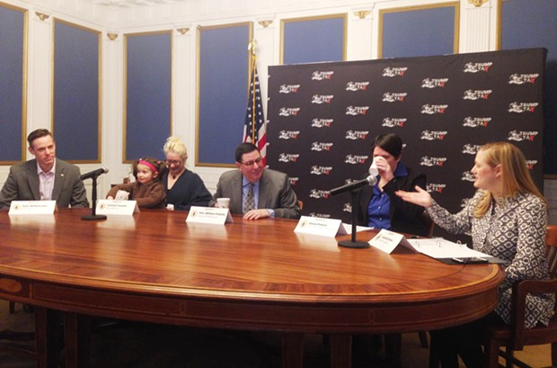 Bill Peduto (center) at March 21 round table discussing tax cuts - CP PHOTO BY RYAN DETO