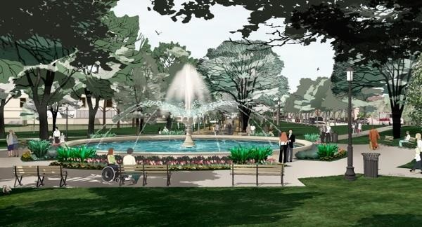 Rendering of Allegheny Commons fountain project - IMAGE COURTESY OF PITTSBURGH PARKS CONSERVANCY