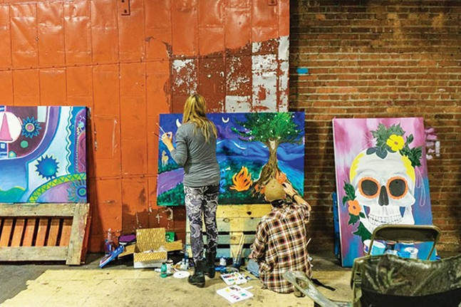 Artists live paint during Art All Night in 2016 - CP FILE PHOTO BY AARON WARNICK