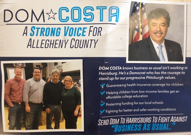 Dom Costa mailer sent to Democratic voters - CP PHOTO BY RYAN DETO