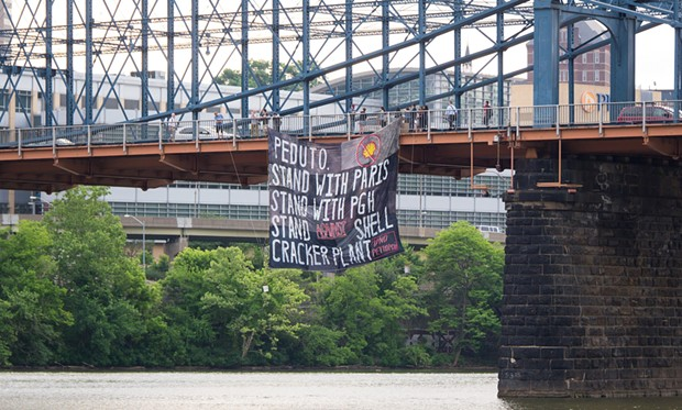 Banner hanging from the Smithfield Street Bridge - PHOTO COURTESY OF MARK DIXON