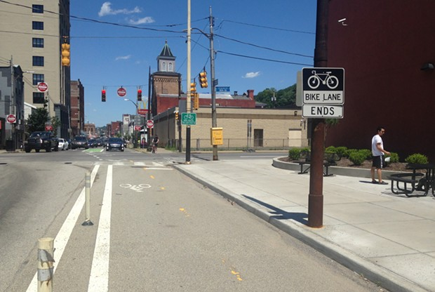 The end of the Penn Avenue protected bike lane - CP PHOTO BY RYAN DETO