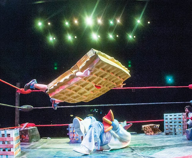 French Toast leaps from the top rope during Kaiju Big Battel.