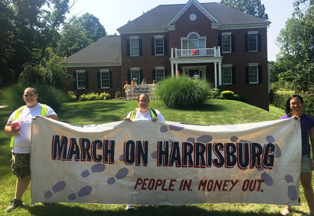 Protesters in front of Mike Turzai's home - PHOTO COURTESY MARCH ON HARRISBURG