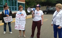 Protesters and North Hills constituents rally outside of Pennsylvania House Speaker Mike Turzai's office, ask for a solution to balance the state budget