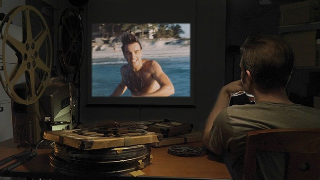 Director Robert Clift watching footage of his uncle, Montgomery Clift