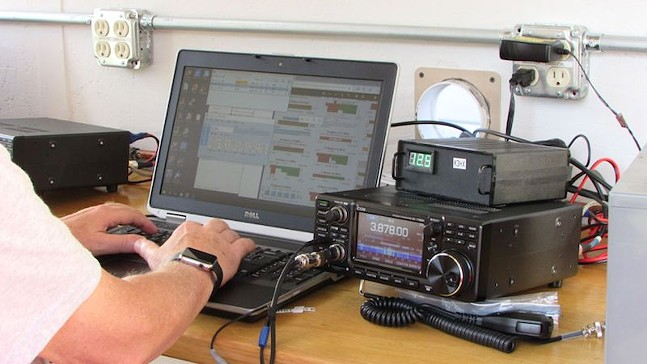 Radio operator making a contact
