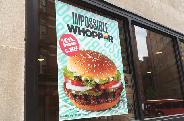 Impossible Whopper advertisement on Downtown Pittsburgh Burger King restaurant