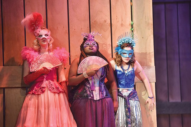 From left: Hanna Berggren, Arica Jackson and Victoria Pedretti in CMU Drama's The Rover