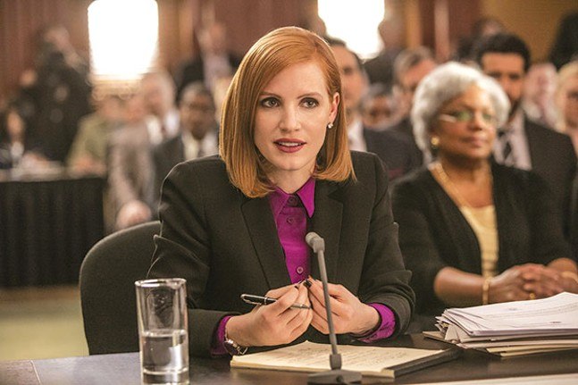 Miss Sloane (Jessica Chastain), on the hot seat