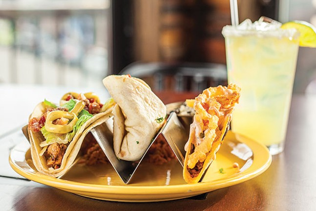 Tacos: grilled chicken with candied pancetta, lime-marinated shrimp and chorizo