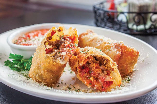 Italian eggrolls: Italian meats and cheeses, served with marinara
