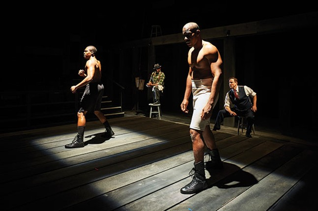 Left to right: Bernard Gilbert, Tim Edward Rhoze, Desean Kevin Terry and Andrew William Smith in The Royale, at City Theatre