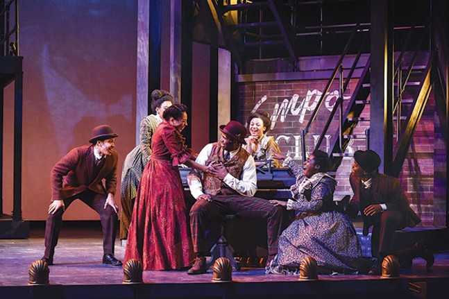 John Clay III (seated, at piano) and other cast members of Ragtime, at Carnegie Mellon School of Drama