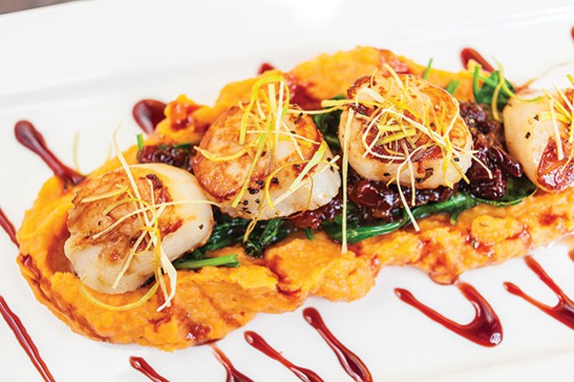 Scallops with sweet-potato purée, cherry-bacon chutney and port wine