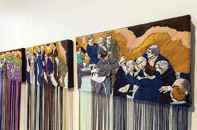 "Ursula Burke's ""Embroidery Frieze (The Politicians)"""