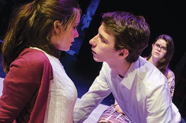 Left to right: Julia Zoratto, Peter Joseph Kelley Stamerra and Lyric Bowman in The Perks of Being a Wallflower at Prime Stage