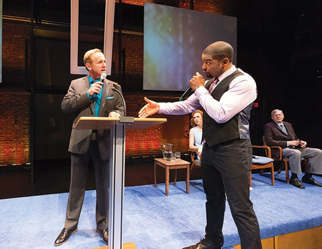 David Whalen (left) and Joshua Elijah Reese in The Christians, at Kinetic Theatre