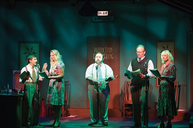 Brad Campbell, Sarah Parker, Andy Coleman, Bob Ference and Helga Terre in South Park Theatre's Vintage Hitchcock