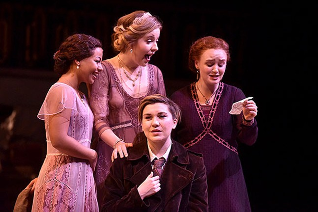 Left to right: Myha'La Herrold, Kennedy McMann, Eleanor Pearson and Aubyn Heglie in Love's Labor's Won, at CMU School of Drama