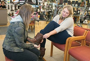Employees Lynn Celovsky and Jessica Garland at Best Local Shoe Store Littles Shoes - PHOTO BY JOHN COLOMBO