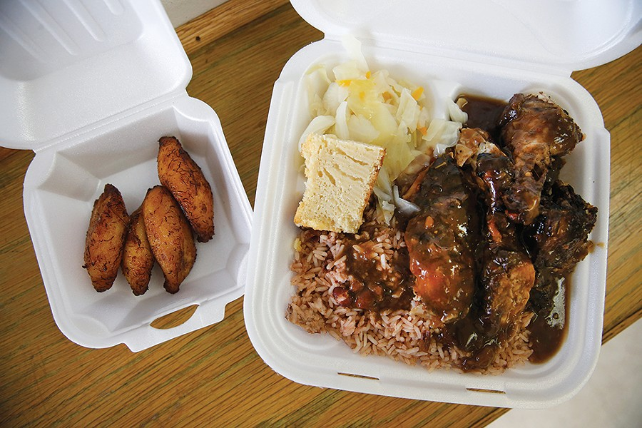Jerk chicken and plantains - CP PHOTO: JARED WICKERHAM