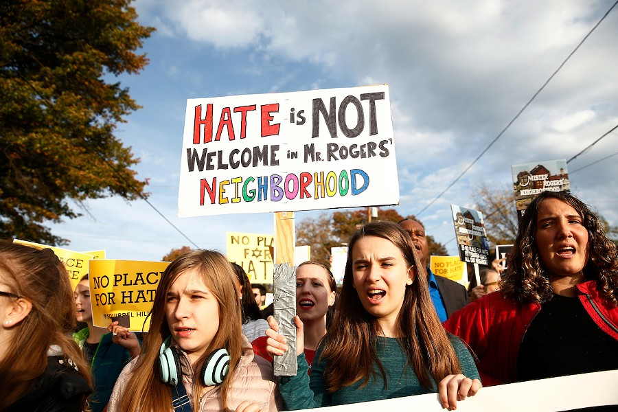 While President Trump was visiting, multiple groups of marchers made their way towards the Tree of Life synagogue three days after a mass shooting in Pittsburgh. - CP PHOTO: JARED WICKERHAM