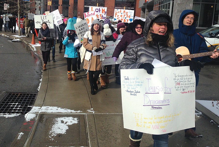 Jewish activists and immigrant-rights advocates march on the South Side on Jan. 30. - CP PHOTO: RYAN DETO
