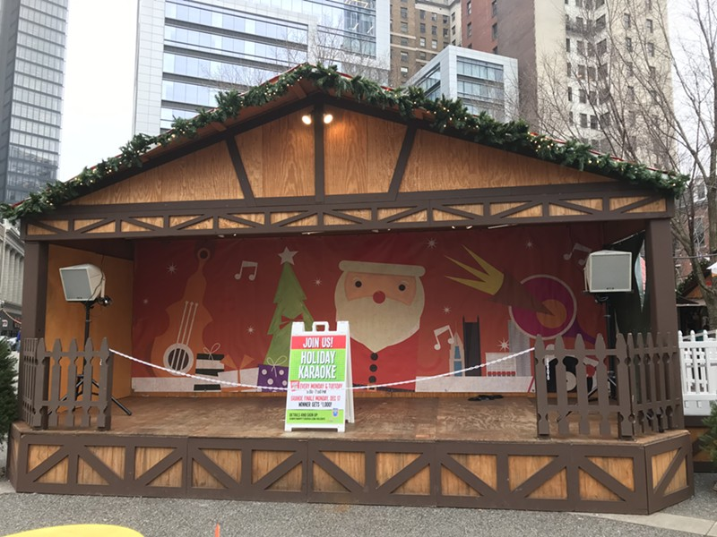 Holiday Market stage is now without Colcom Foundation sign - CP PHOTO: RYAN DETO