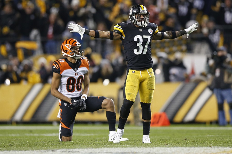 Jordan Dangerfield #37 of the Steelers celebrates a pass broken up and intended for Josh Malone #80 of the Bengals. - CP PHOTO: JARED WICKERHAM