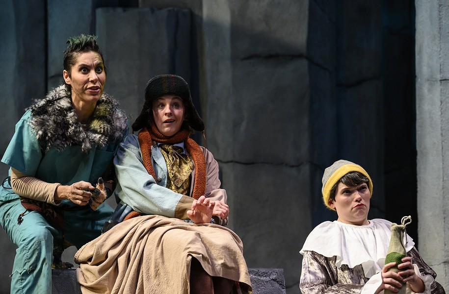 (Left to right) Shammen McCune as Caliban, Bethany Caputo as Stephano, and Jamie Agnello as Trinculo in The Tempest. - MICHAEL HENNINGER