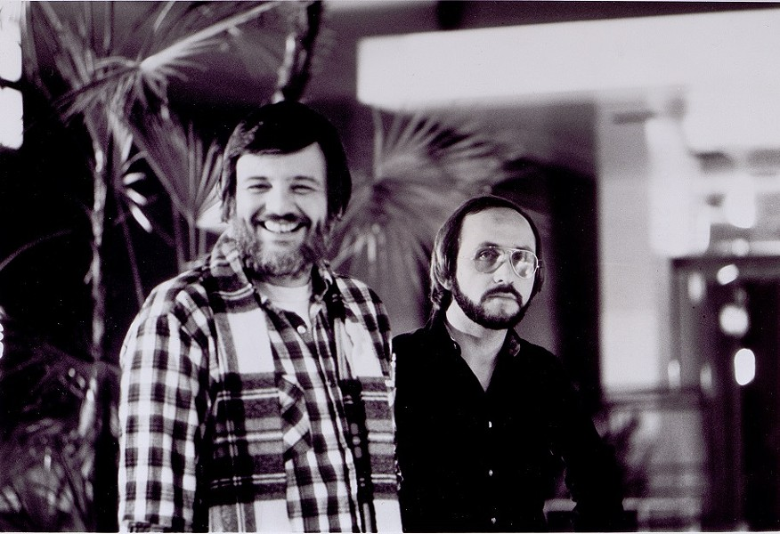 Dawn of the Dead set photo with George Romero (left) and producer Richard Rubenstein in Monroeville Mall. - GEORGE A. ROMERO COLLECTION, UNIVERSITY OF PITTSBURGH