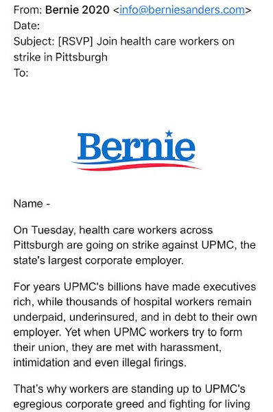 Screenshot of Bernie Sanders campaign email