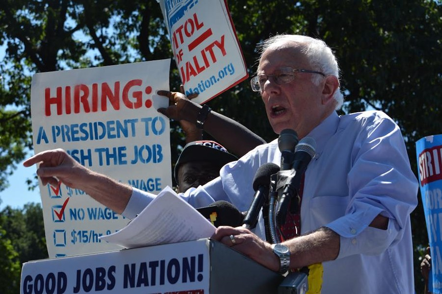 Sen. Bernie Sanders at a rally for $15 minimum wage - PHOTO: SANDERS.SENATE.GOV