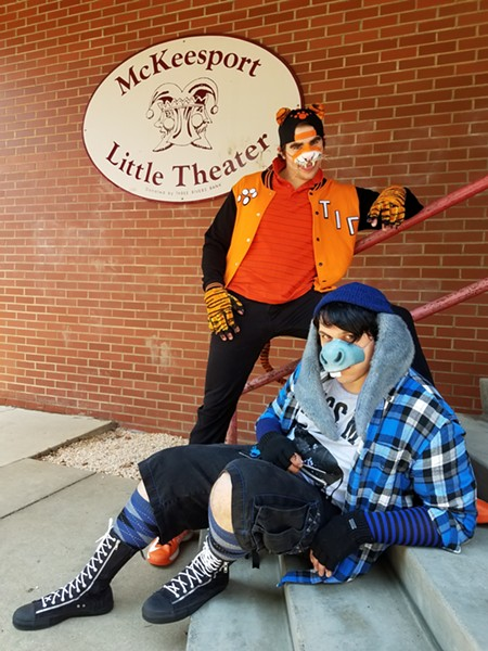 Michael Barnett as Tigger and Alex Blair as Eeyore behind-the-scenes ofWinnie-the-Pooh and the Seven Deadly Sins. - JAMES SHOBERG