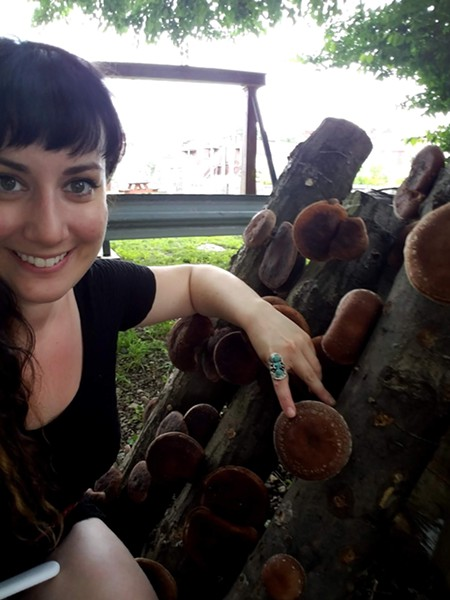 Rooftop Garden project manager Kelsey Sheridan with some of Spirit's mushroom harvest - PHOTO: SPIRIT