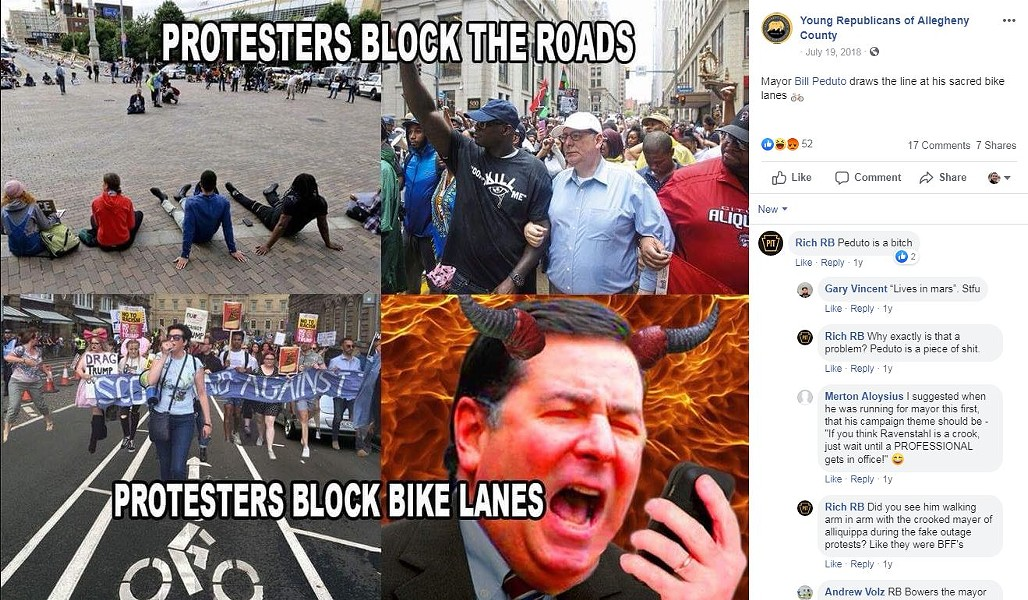 Post mocking Bill Peduto on Young Republicans of Allegheny County Facebook page - SCREENSHOT TAKEN FROM FACEBOOK