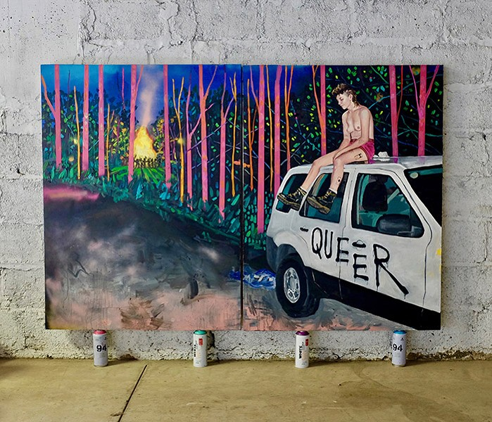 """An oil painting of Dig and the """"Queer Car"""" by artist Danielle Klebes"""