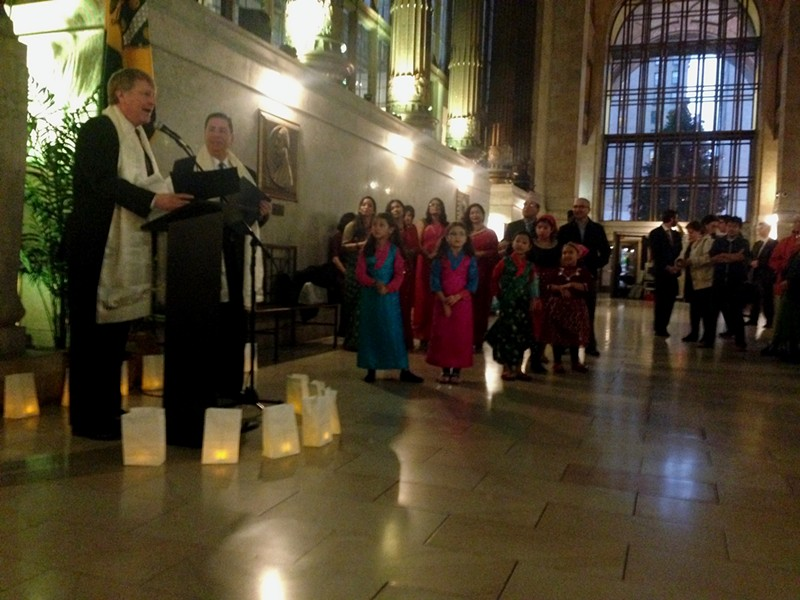 Allegheny County Executive Rich Fitzgerald and Pittsburgh Mayor Bill Peduto address crowd of residents celebrating Diwali in city-county building. - PHOTO COURTESY OF RYAN DETO