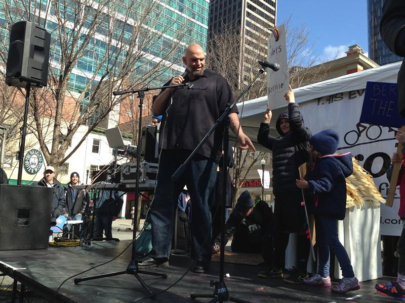 John Fetterman speaks at a rally - PHOTO BY RYAN DETO
