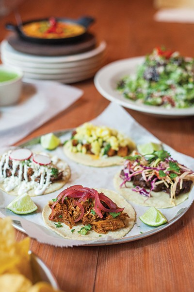 Bakersfield: An assorted of tacos from Bakersfield: Cochinita Pibil, Short Rib, Pork Belly Pastor and Bistec - PHOTO BY VANESSA SONG