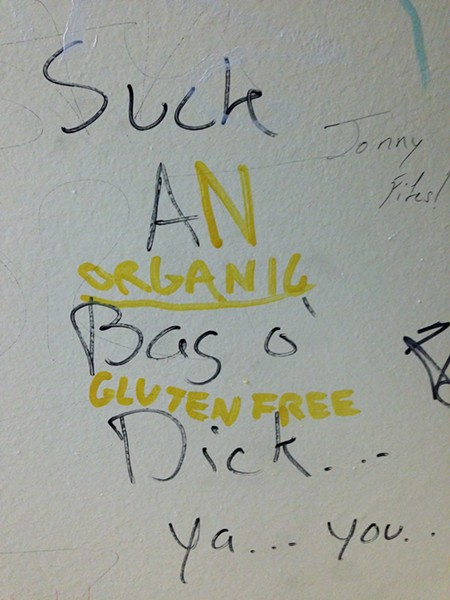 Bathroom graffiti at Gus's in Lawrenceville. - PHOTOGRAPH BY ALEX GORDON