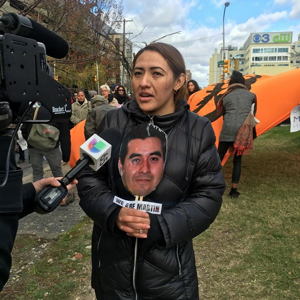 Alma Brigido, wife of Martin Esquivel-Hernandez, interviewed by Philadelphia-area Spanish language TV news - PHOTO COURTESY OF MONICA RUIZ