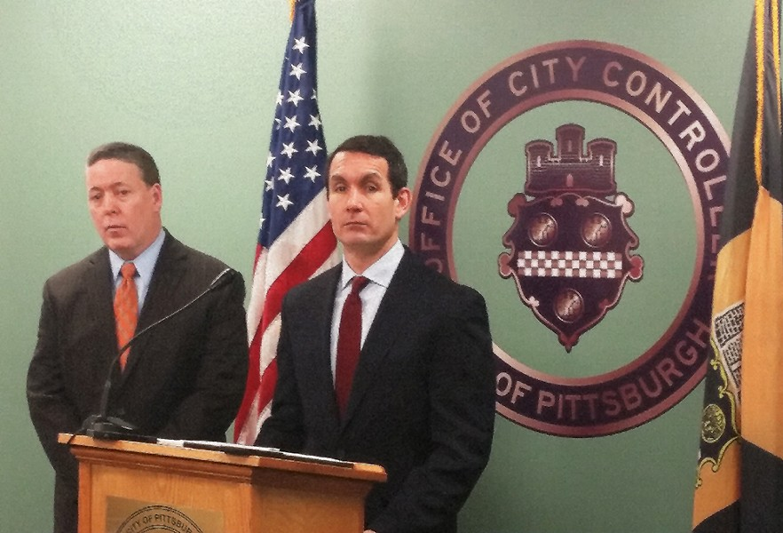 Pittsburgh City Controller Michael Lamb (left) and Pennsylvania Auditor General Eugene DePasquale (right) - CP PHOTO BY REBECCA ADDISON