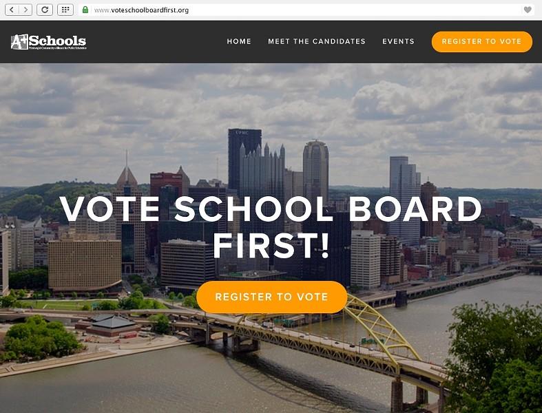 Screenshot of wwww.voteschoolboardfirst.org