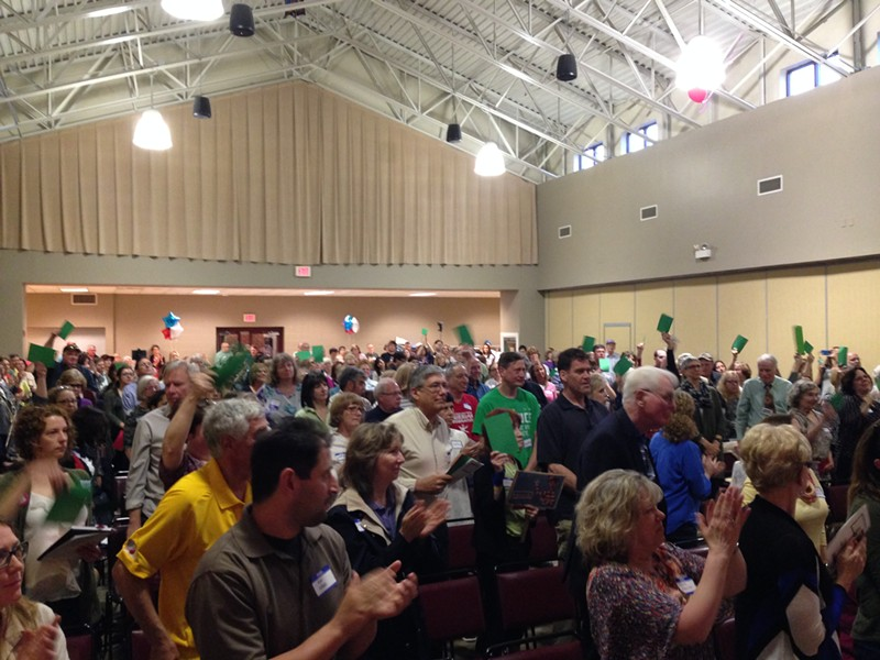 More than 200 consituents fill the Bethel Park Community Center at a town hall event without Rep. Tim Murphy. - CP PHOTO BY RYAN DETO
