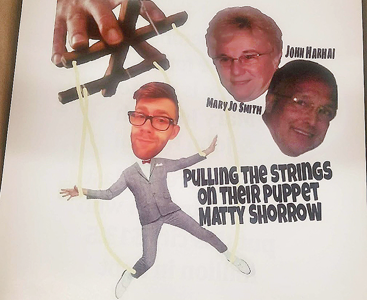 Flier depicting Matt Shorraw as a puppet - IMAGE OBTAINED BY CITY PAPER