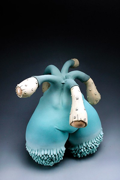 "Sara Catapano, ""Young Gun,"" (stoneware, glaze, underglaze) - PHOTO COURTESY OF BOXHEART GALLERY"