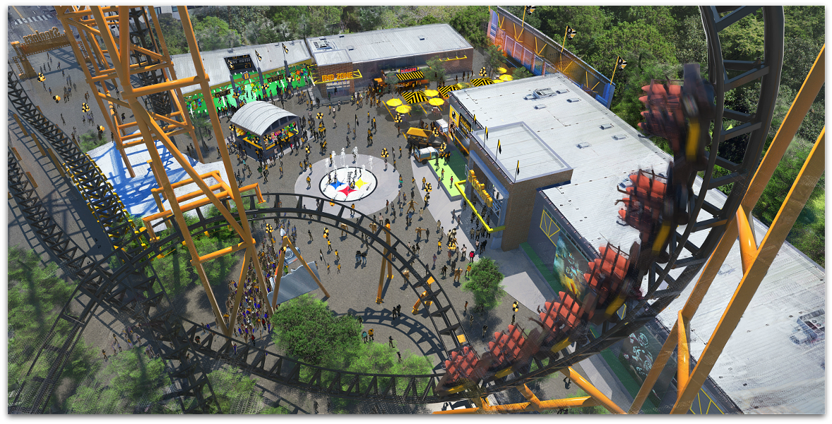 Concept art for Kennywood's upcoming Steelers Country section and Steel Curtain roller coaster - PHOTO COURTESY OF KENNYWOOD