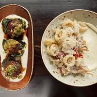 Sienna Mercato Fried calamari and lamb meatballs Photo by Heather Mull